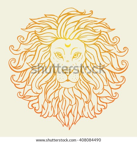 Greeting Beautiful card with loin safari. Frame of animal made in vector. Tiger Illustration for design, pattern, textiles. Hand drawn map with lion. Use for children's clothes, pajamas, web sites - stock vector