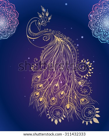 Greeting Beautiful Card Peacock Frame Peacock Stock Vector Royalty