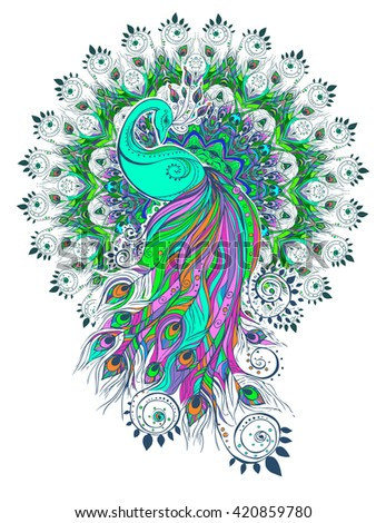Greeting Beautiful card with peacock Peacock made in vector Color bird for the design of textiles, clothing, T-shirts, wallpaper, print, wall stickers, print Peacock ethnic, east orient ornament - stock vector