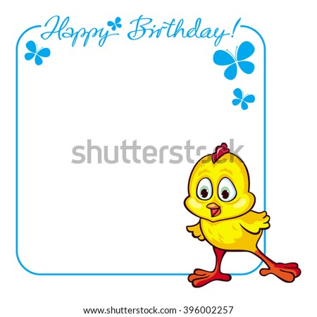 Greeting Birthday card with baby chicken