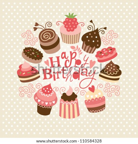 Greeting birthday card with cute little cakes - stock vector