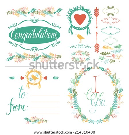 Greeting Card and design elements set - stock vector