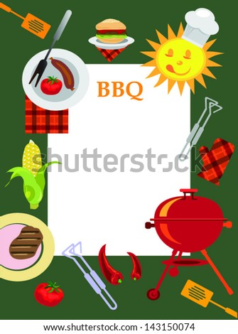 greeting card bbq,bbq background with objects for picnic - stock vector