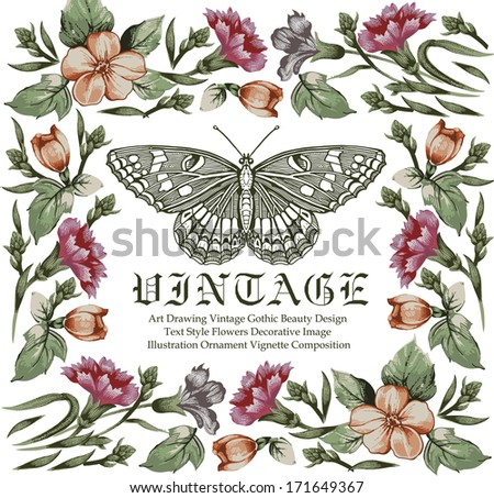 Greeting card. Butterflies. Beautiful frame with a flower ornament.