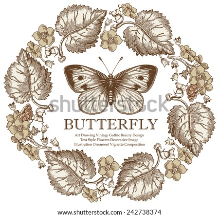 Greeting card. Butterfly. Beautiful flower. - stock vector