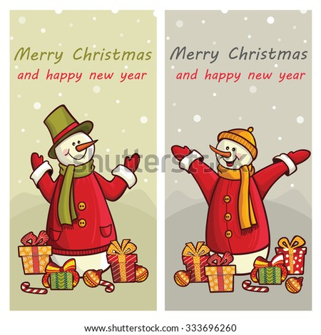 Greeting card, Christmas card with cute snowmen