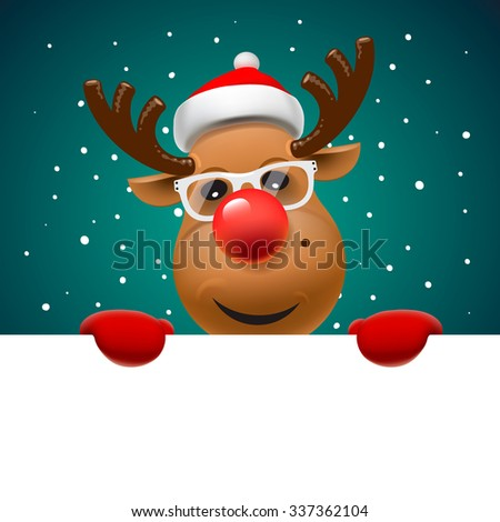 Greeting card, Christmas card with reindeer  holding white page, vector illustration. - stock vector