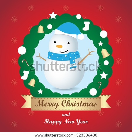 Greeting card, Christmas card with Snowman - stock vector