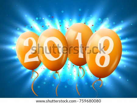 Greeting card 2018 christmas new year stock photo photo vector greeting card 2018 christmas or new year card with realistic golden balloons and numbers on blue m4hsunfo