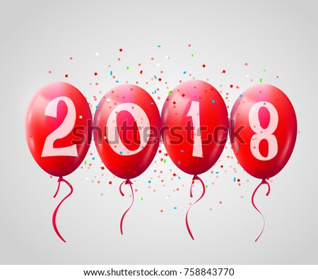 Greeting card 2018 christmas new year stock vector 2018 758843770 greeting card 2018 christmas or new year card with realistic red balloons and numbers on white m4hsunfo Image collections