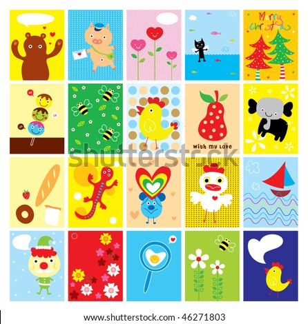 greeting card collection - stock vector