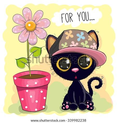 Greeting card Cute Cartoon Kitten with a flower - stock vector
