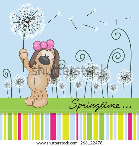 Greeting card Cute Dog with dandelion on a meadow  - stock vector
