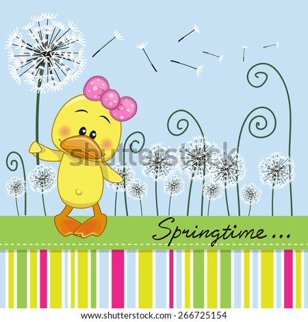 Greeting card Cute Duck with dandelion on a meadow  - stock vector