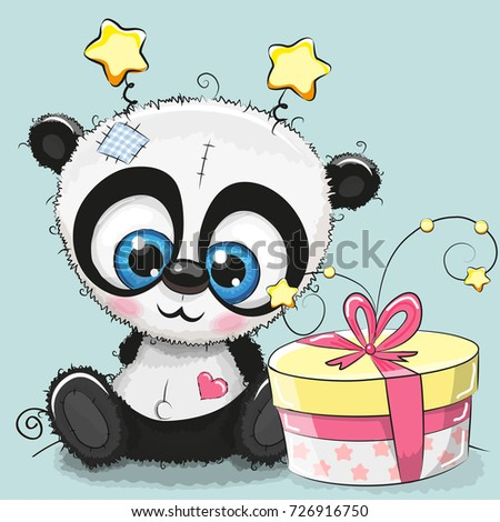 Greeting card cute Panda with gift on a blue background
