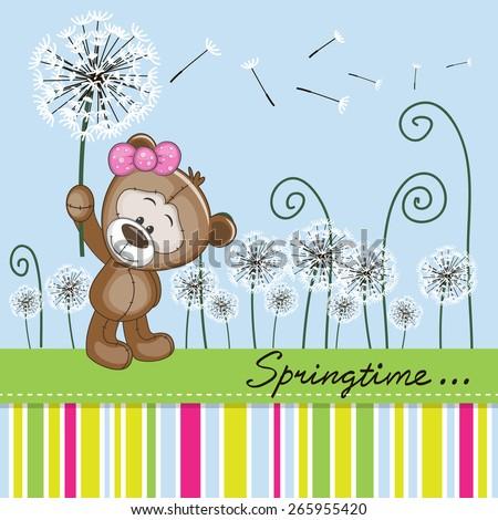 Greeting card Cute Teddy Bear with dandelion on a meadow  - stock vector