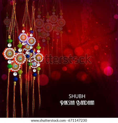 Greeting Card Design Decorated With Beautiful Traditional Rakhi On Floral Background For Indian Festival