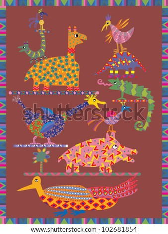 Greeting card design featuring totem design with animals - stock vector