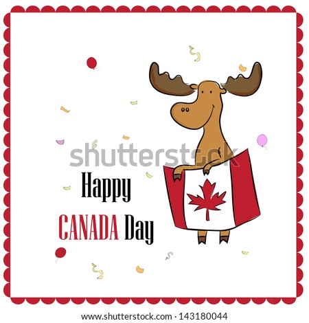 greeting card design for Canada Day with moose - stock vector