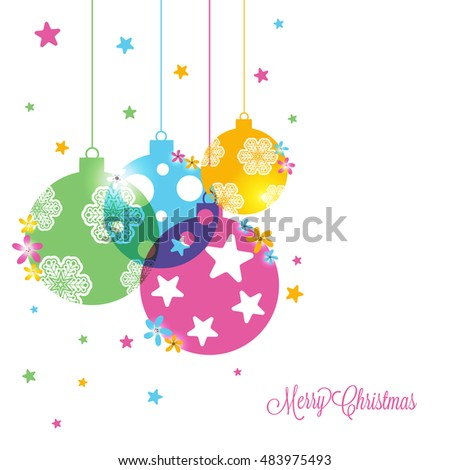 Greeting Card design with colorful hanging Xmas Balls for Merry Christmas celebration.