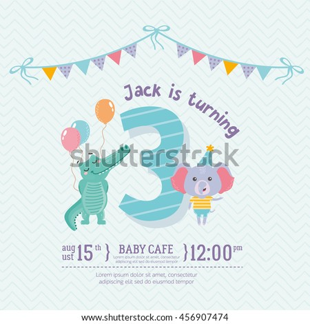 Greeting card design cute crocodile elephant stock vector royalty greeting card design with cute crocodile and elephant happy birthday invitation template for three year stopboris Image collections