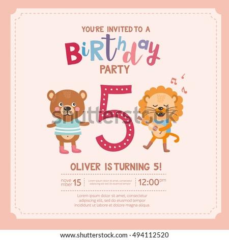 Greeting Card Design Cute Lion Bear Stock Vector Royalty Free
