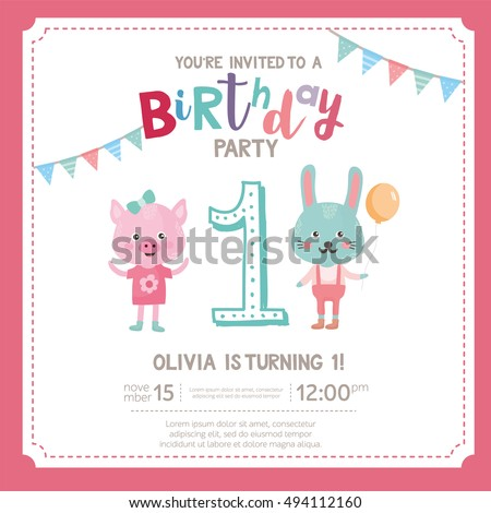 Greeting card design cute pig rabbit stock vector royalty free greeting card design with cute pig and rabbit happy birthday invitation template for one year filmwisefo