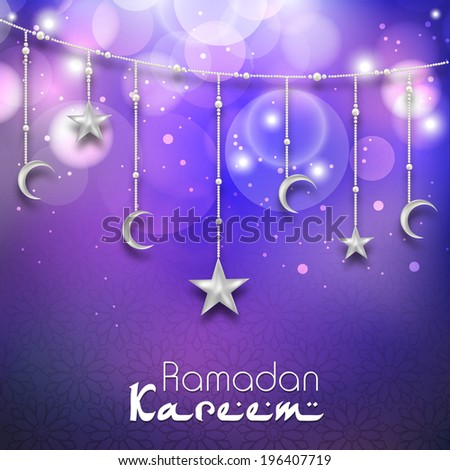 Greeting card design with hanging moon and stars in shiny purple background for holy month of muslim community Ramadan Kareem.
