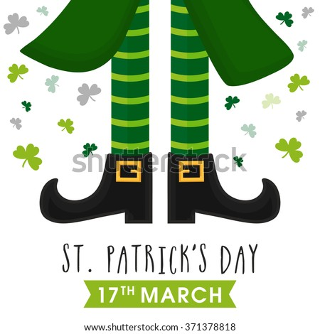 Greeting card design with illustration of Leprechaun legs on shamrock leaves decorated background for Happy St. Patrick's Day celebration. - stock vector