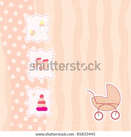 greeting card for baby girl - stock vector