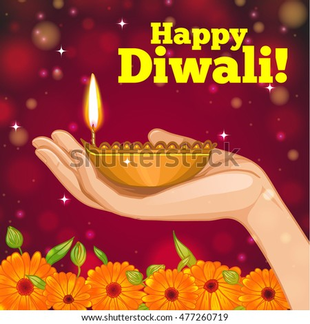 Greeting card diwali diya decoration hand stock vector 2018 greeting card for diwali with diya decoration in hand vector image eps10 m4hsunfo