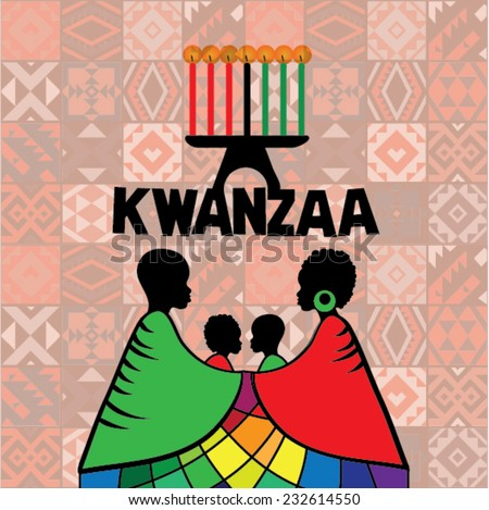 Greeting card for Kwanzaa with silhouette of couple of Africans. Vector illustration. Happy Kwanzaa decorative greeting card. seven kwanzaa candles in vector - stock vector