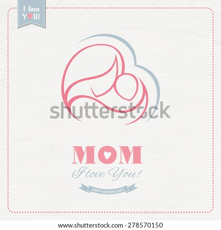 Greeting card for Mother's Day - stock vector