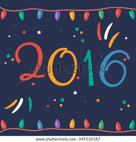 Greeting card for New 2016 Year in flat design. Vector