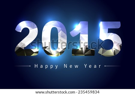 Greeting card for New Year 2015 - vector illustration