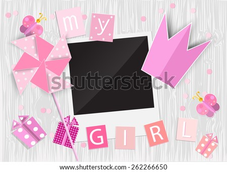 Greeting card for princess girl. Pinwheel, crown, gift box, photo frame, butterflies on wooden background. Vector EPS10. - stock vector