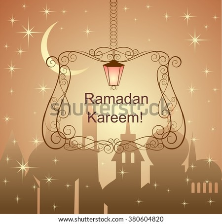 Greeting card for Ramadan with night sky, crescent and hanging frame - stock vector