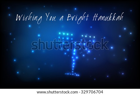 Greeting card for the Jewish holiday of Hanukkah. Menorah or Hanukkiya shaped out of stars in the night sky for the Jewish holiday of Hanukkah written with the blessing - Wishing You a Bright Hanukkah - stock vector