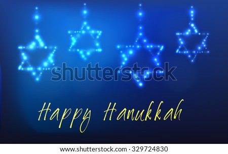 Greeting card for the Jewish holiday of Hanukkah. Star of David shaped out of stars in the night sky for the Jewish holiday of Hanukkah written with the blessing - Happy Hanukkah - stock vector