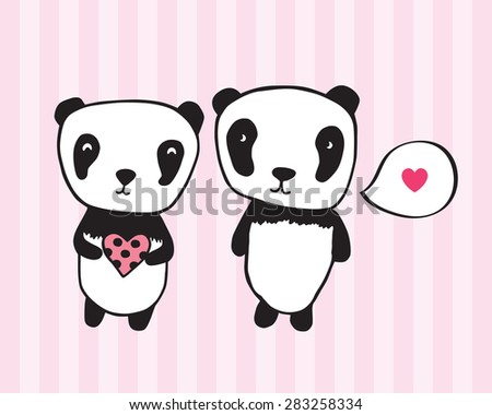 Greeting card for Valentine's Day, birthday with pandas and hearts. Hand drawn pandas for your design. Light pink background. Doodles, sketch. Vector illustration. - stock vector