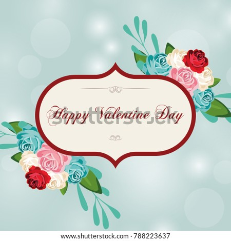 Greeting card for Valentine's Day in a beautiful frame.