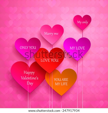 greeting card for Valentine's Day. set of hearts. I love you, marry me. Vector illustration