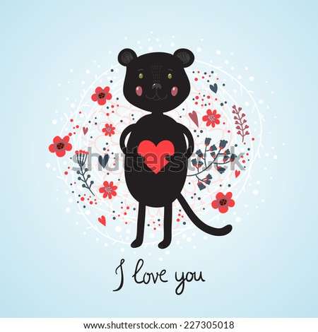 Greeting card for Valentine's Day with cute panther holding a heart. Vector illustration - stock vector