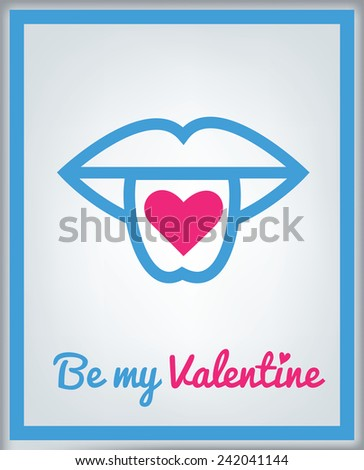 Greeting card for Valentine's day with vector icon - tongue with hearts - stock vector