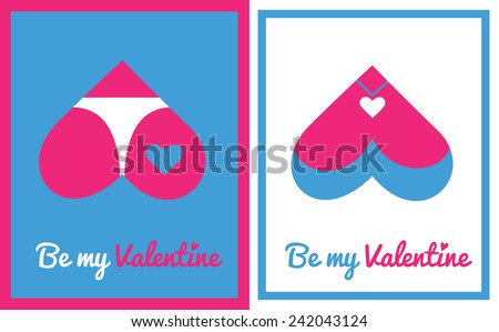 Greeting card for Valentine's day with vector icon - with butt and chest hearts - stock vector