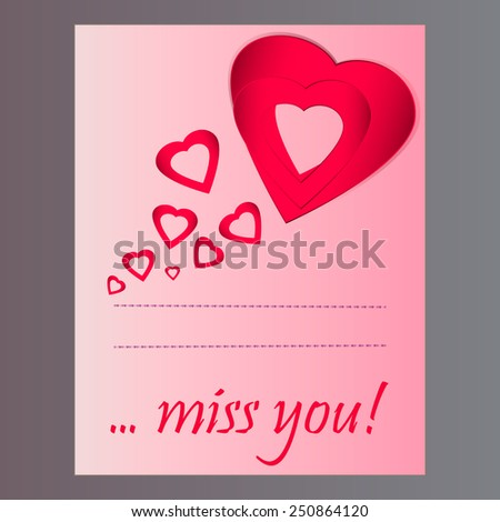 Greeting card valentines day words miss stock photo photo vector greeting card for valentines day with words miss you m4hsunfo