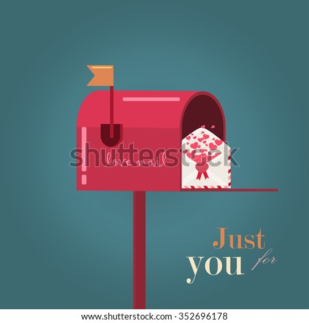 Greeting card for Valentines day with mailbox, a letter and hearts. Perfect for decoration postcards, brochures, textiles or paper packaging. - stock vector