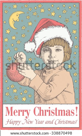 Greeting card, frame. Happy New Year and Merry Christmas. Winter. Background realistic. Boy dresses up Christmas tree. Family Child. Santa. Freehand drawing. Moon. Stars. Vintage vector illustration.