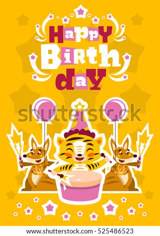 Greeting Card Happy Birthday Designed Printing Stock Vector