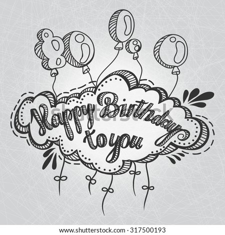 Greeting Card Happy Birthday You Hand Vector 317500193 – Doodle Birthday Card